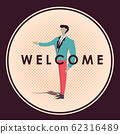 Welcome business man badge vector illustration 62316489