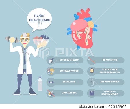 world heart day, healthy lifestyle infographic diagram and heart health care concept with doctor and heart anatomy in blue background 62316965