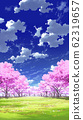[For vertical PAN] Blue sky and clouds 02 and cherry blossoms 05 Meadow 04 62319657