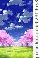 [For vertical PAN] Blue sky and clouds 02 and cherry blossoms 05 Meadow 05 62319658