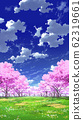 [For vertical PAN] Blue sky and clouds 02 and cherry blossom 05 grassland 01 62319661