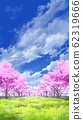 [For vertical PAN] Blue sky and clouds 05 and cherry blossoms 05 Meadow 05 62319666