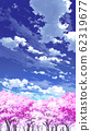 [For vertical PAN] Blue sky and clouds 03 and cherry blossoms 06 62319677