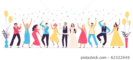 People dancing at wedding. Romance newlywed dance, traditional wedding celebration celebrating with friends and family vector illustration 62322649