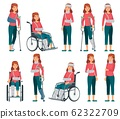 Woman with injury. Broken legs in plaster, arm and neck injuries. Sad female character in wheelchair, accident victim vector cartoon illustration 62322709
