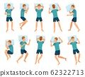 Man sleeps in different poses. Male character sleep, mans sleeping in bed top view vector illustration set 62322713
