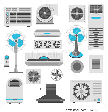 Air conditioner and ventilator units set in white and blue 62323697