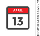 April 13 calendar icon with day of month 62323979