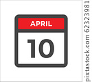 April 10 calendar icon w day of month 62323981