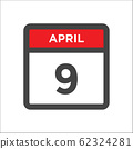 April 9 calendar icon with day of month 62324281