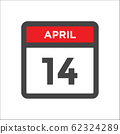 April 14 calendar icon with day of month 62324289