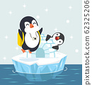 penguins with Igloo ice house on ice floe vector 62325206