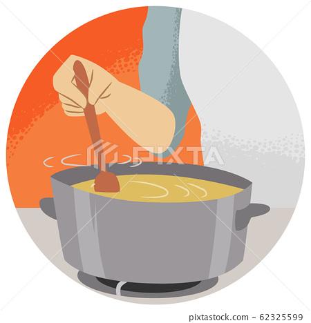 Hand Kitchen Verb Stir Illustration 62325599