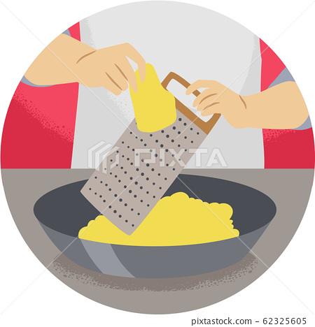Hand Kitchen Verb Grate Illustration 62325605