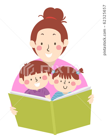 Kids Mom Read Book Storytelling Illustration 62325657