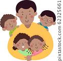Kids Dad African Hug Illustration 62325661