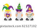Mardi Gras Gnomes with mask, fleur de lis, & heart 62327102