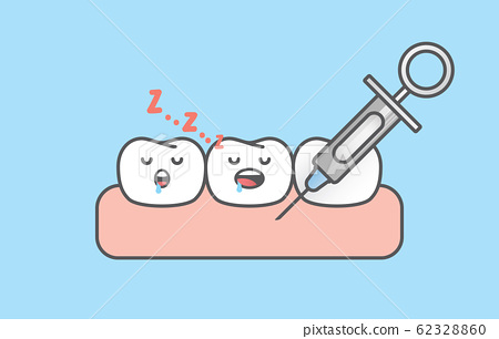 Dental anesthesia,teeth cartoon sleeping when a 62328860