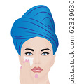 Vector illustration of a girl using facial cream for skincare 62329630