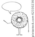 Donut or Doughnut Cartoon Character With Speech Bubble, Vector Illustration 62330236
