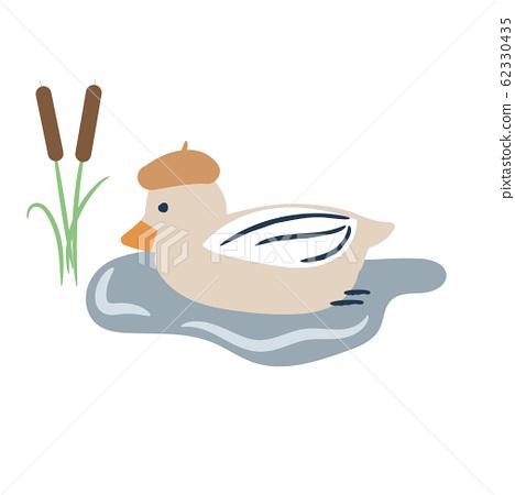 Cute cartoon duck on a pond vector illustration. 62330435