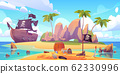 Pirate buries treasure chest on island beach 62330996