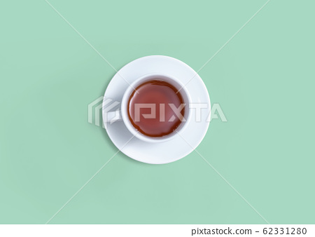 A cup of tea overhead view 62331280