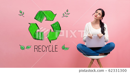 Recycle with woman using a laptop 62331300