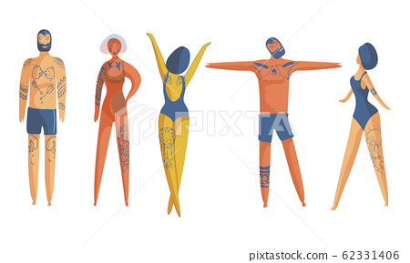People Wearing Swimsuits Standing in Different Poses Toward the Sun and Sunbathing Vector Set 62331406