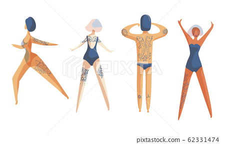 People Wearing Swimsuits Standing in Different Poses Toward the Sun and Sunbathing Vector Set 62331474