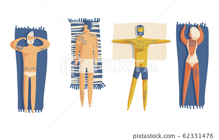 People Wearing Swimsuits Lying on Beach and Sunbathing Top View Vector Set 62331476