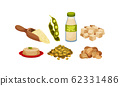Soya Products and Foodstuff with Bean Pods and Tofu Rested on Plate Vector Set 62331486