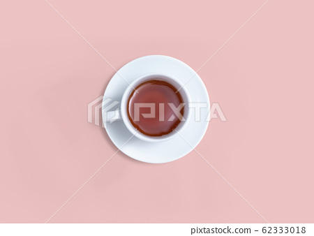 A cup of tea overhead view 62333018