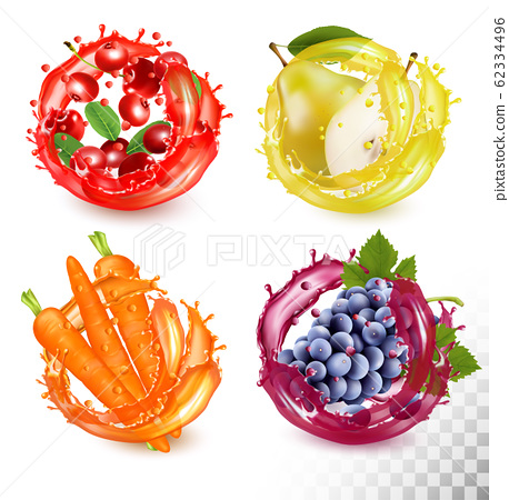 Set of fruit juice splash. Cherry, crowberry, 62334496
