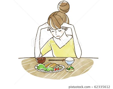 擔心的女人厭食症 62335612