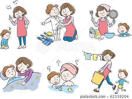 母親,孩子,父母和子女,保育,生活,設置 62339204