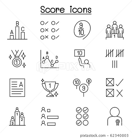 Score icons set in thin line style 62340803