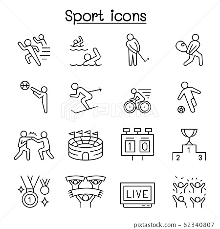 Sport icons set in thin line style 62340807