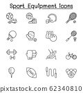 Sport equipment icons set in thin line style 62340810