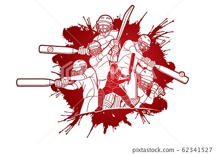 Group of Cricket players action cartoon sport graphic vector. 62341527