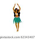 Hawaiian Hula girl dancer character in skirt flat vector illustration isolated. 62343407