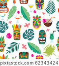 Tropical leaves and totem masks in seamless pattern, cartoon vector illustration. 62343424