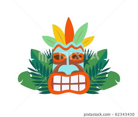 Tiki Hawaiian Mask Icon And Tropical Leaves Stock Illustration 62343430 Pixta Скачайте векторную иллюстрацию vector tropical leaves and flowers icon set isolated on transparency grid background palm banana leaf hibiscus and plumeria flowers jungle. https www pixtastock com illustration 62343430