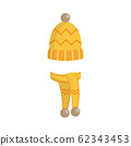 Winter knitted warm hat and mittens flat cartoon vector illustration isolated. 62343453