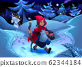 Little Red Riding Hood walking in the wood 62344184