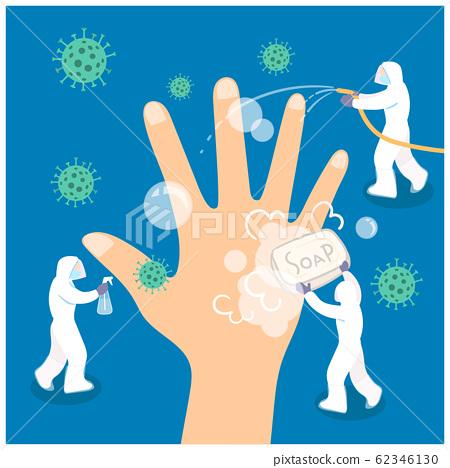 Concept of wash hand. Vector flat illustration. 62346130