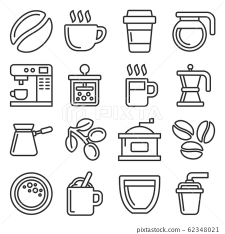 Coffee Icons Set on White Background. Line Style Vector 62348021