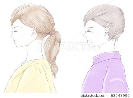 Profile comparison of young women and senior women with closed eyes Comparison of aging process 62348996