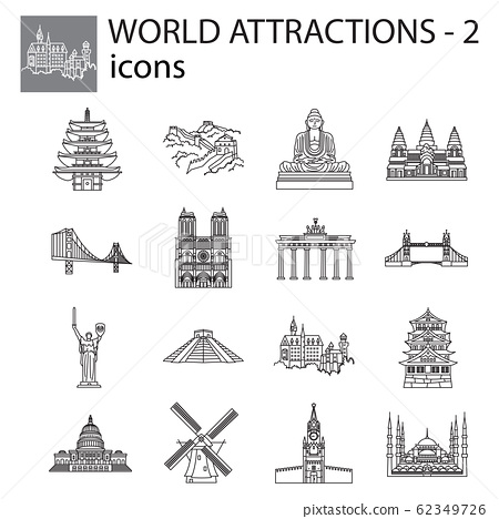 World Attractions icon line, linear vector set. Black signs, symbols. Icons for tourism. Set of stylish icons on a white background. 62349726