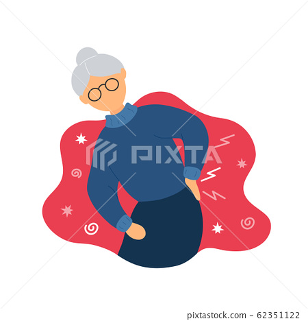 Old woman with backache problems 62351122